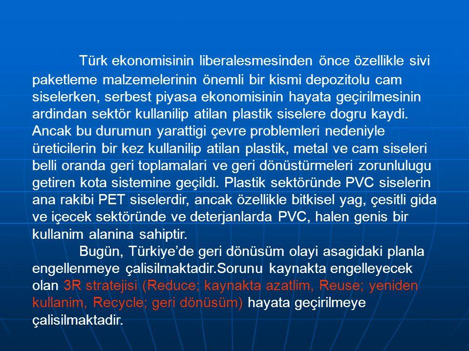 Türk ekonomisinin liberalesmesinden önce özellikle sivi paketleme malzemelerinin önemli bir kismi depozitolu cam siselerken, serbest piyasa ekonomisin