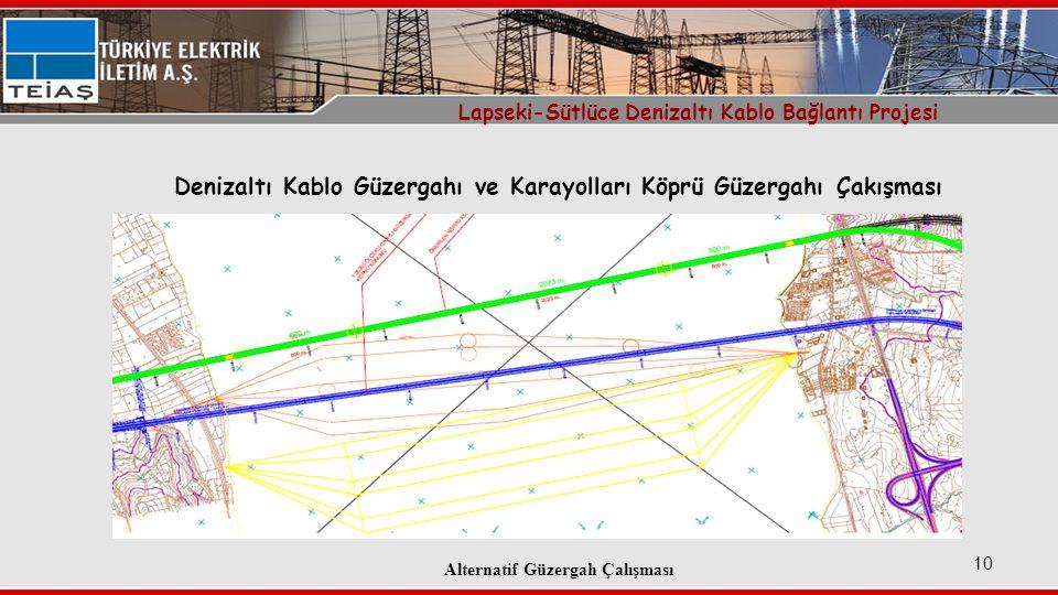 10 Denizaltı Kablo Güzergahı ve Karayolları Köprü Güzergahı Çakışması Lapseki-Sütlüce Denizaltı Kablo Bağlantı Projesi Alternatif Güzergah Çalışması
