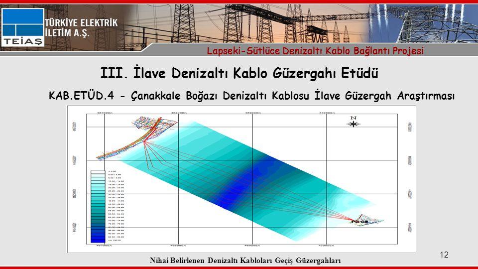 12 KAB.ETÜD.4 - Çanakkale Boğazı Denizaltı Kablosu İlave Güzergah Araştırması Lapseki-Sütlüce Denizaltı Kablo Bağlantı Projesi III.
