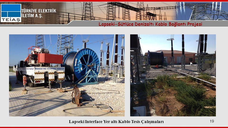 Lapseki Interface Yer altı Kablo Tesis Çalışmaları 19 Lapseki-Sütlüce Denizaltı Kablo Bağlantı Projesi