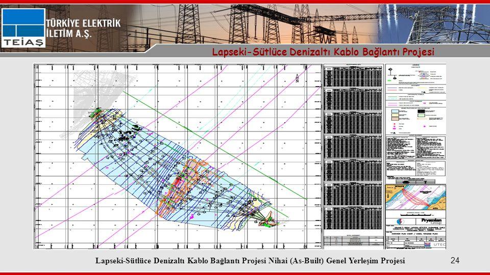 24 Lapseki-Sütlüce Denizaltı Kablo Bağlantı Projesi Lapseki-Sütlüce Denizaltı Kablo Bağlantı Projesi Nihai (As-Built) Genel Yerleşim Projesi