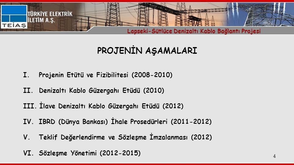 5 Interfaceler için Yer Seçimi: 24/12/2010 ve 03/11/2011 (Köprü Çakışması nedeniyle) Denizaltı Kablo Güzergahı Etüdü: 08/11/2010 ile 26/03/2011 tarihleri arasında İlave Denizaltı Kablo Güzergahı Etüdü: 17/02/2012 ile 21/03/2012 tarihleri arasında Sözleşme Tarihi: 19/09/2012 Interface Merkez Çalışmaları: 22/01/2013 ile 15/10/2014 tarihleri arasında Kara Kabloları Üretimi: 30/08/2013 ile 15/12/2013 tarihleri arasında Kara Kabloları Kabul Testleri: 19/12/2013 ile 20/12/2013 tarihleri arasında Kara Kabloları Sevki: Ocak 2014 Kara Kabloları Serilmesi: Haziran 2014 Denizaltı Kablosu Üretimi: Haziran 2013 ile Mart 2014 tarihleri arasında Denizaltı Kablosu Tip&Kabul Testleri: Ocak-Mart 2014 (Tip) Şubat-Mart 2014 (Kabul) Denizaltı Kablosu Sevki: 15/10/2014 ile 19/11/2014 tarihleri arasında Denizaltı Kablosu Serilmesi&Döşenmesi: Kasım-Aralık 2014 (Serim) Ocak-Mart 2015 (Döşeme) Projenin Tamamlanması&Enerjilendirilmesi:19/04/2015 & 25/08/2015 Lapseki-Sütlüce Denizaltı Kablo Bağlantı Projesi PROJEDEKİ ÖNEMLİ TARİHLER