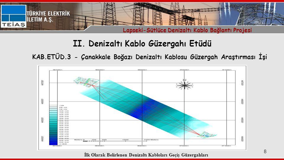 9 Denizaltı Kablo Güzergahı ve Karayolları Köprü Güzergahı Çakışması Lapseki-Sütlüce Denizaltı Kablo Bağlantı Projesi İlk Belirlenen Kablo Güzergahları ve Köprünün Konumu