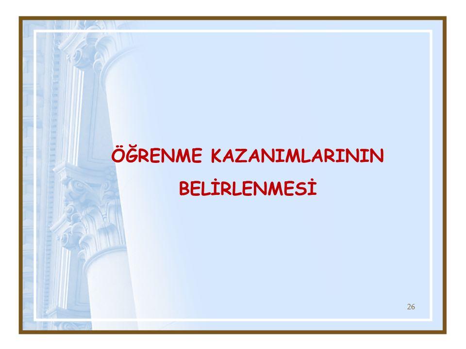 ÖĞRENME KAZANIMLARININ BELİRLENMESİ 26