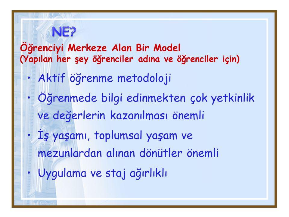 Öğrenciyi Merkeze Alan Bir Model (Yapılan her şey öğrenciler adına ve öğrenciler için) Aktif öğrenme metodoloji Öğrenmede bilgi edinmekten çok yetkinl