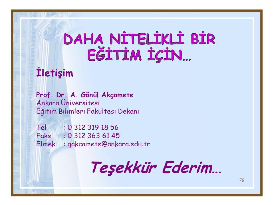 İletişim Prof. Dr. A. Gönül Akçamete Ankara Üniversitesi Eğitim Bilimleri Fakültesi Dekanı Tel: 0 312 319 18 56 Faks: 0 312 363 61 45 Elmek: gakcamete