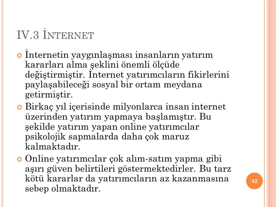 IV.3 İ NTERNET İnternetin yaygınlaşması insanların yatırım kararları alma şeklini önemli ölçüde değiştirmiştir.