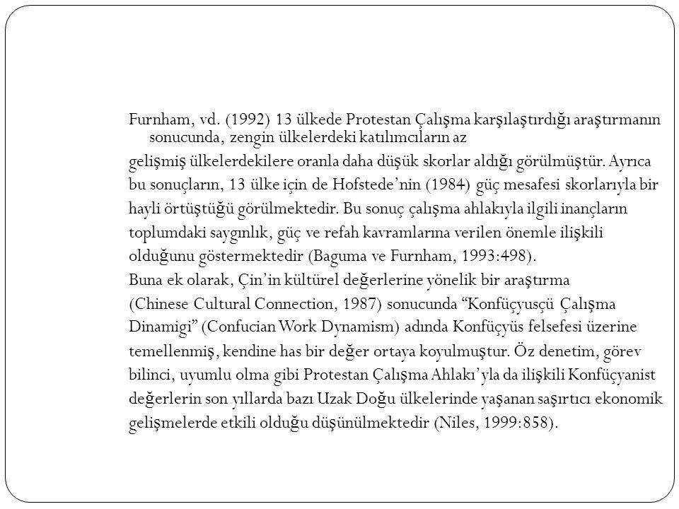 Furnham, vd. (1992) 13 ülkede Protestan Çalı ş ma kar ş ıla ş tırdı ğ ı ara ş tırmanın sonucunda, zengin ülkelerdeki katılımcıların az geli ş mi ş ülk