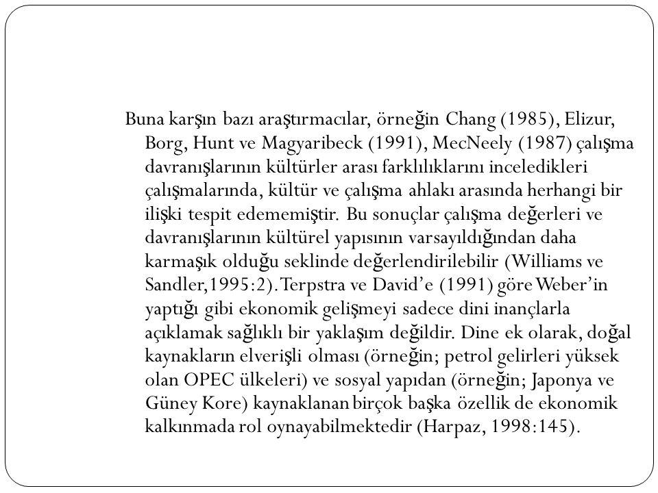 Buna kar ş ın bazı ara ş tırmacılar, örne ğ in Chang (1985), Elizur, Borg, Hunt ve Magyaribeck (1991), MecNeely (1987) çalı ş ma davranı ş larının kül