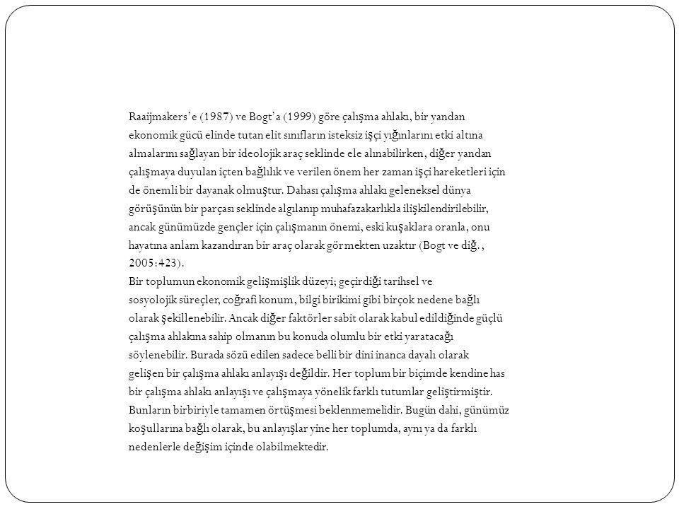 Raaijmakers'e (1987) ve Bogt'a (1999) göre çalı ş ma ahlakı, bir yandan ekonomik gücü elinde tutan elit sınıfların isteksiz i ş çi yı ğ ınlarını etki
