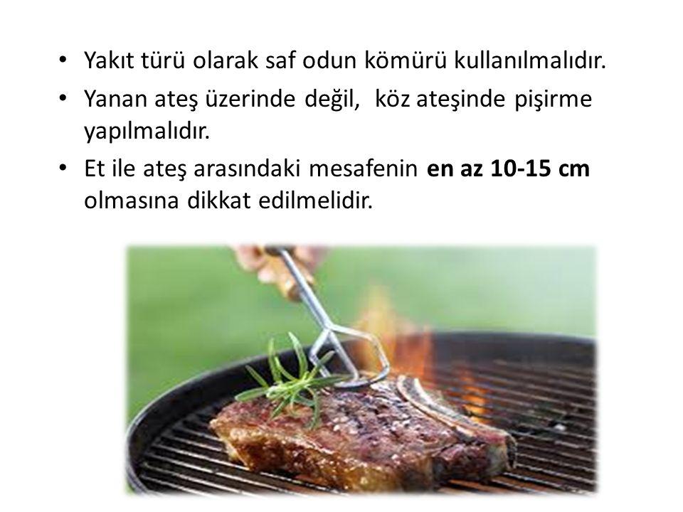 Yakıt türü olarak saf odun kömürü kullanılmalıdır. Yanan ateş üzerinde değil, köz ateşinde pişirme yapılmalıdır. Et ile ateş arasındaki mesafenin en a