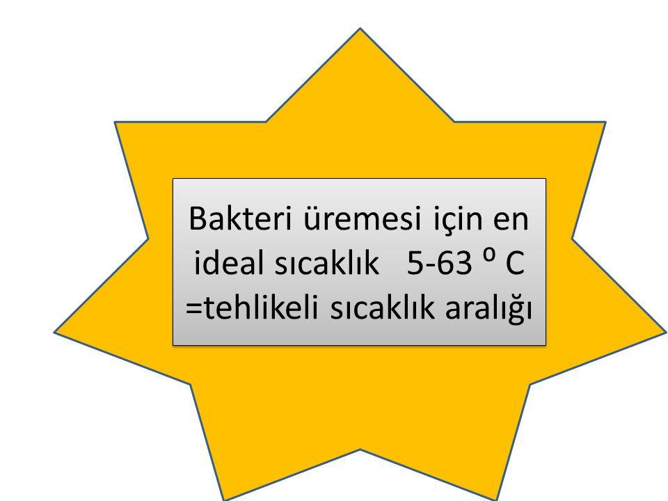 Bakteri üremesi için en ideal sıcaklık 5-63 ⁰ C =tehlikeli sıcaklık aralığı