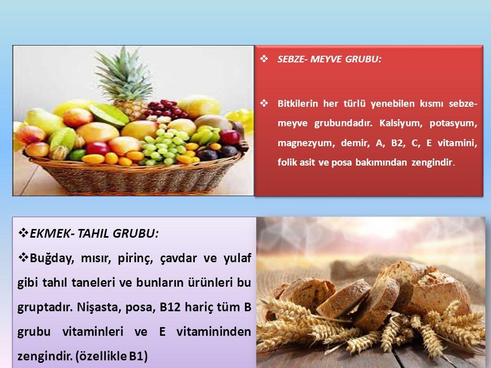  EKMEK- TAHIL GRUBU:  Buğday, mısır, pirinç, çavdar ve yulaf gibi tahıl taneleri ve bunların ürünleri bu gruptadır. Nişasta, posa, B12 hariç tüm B g