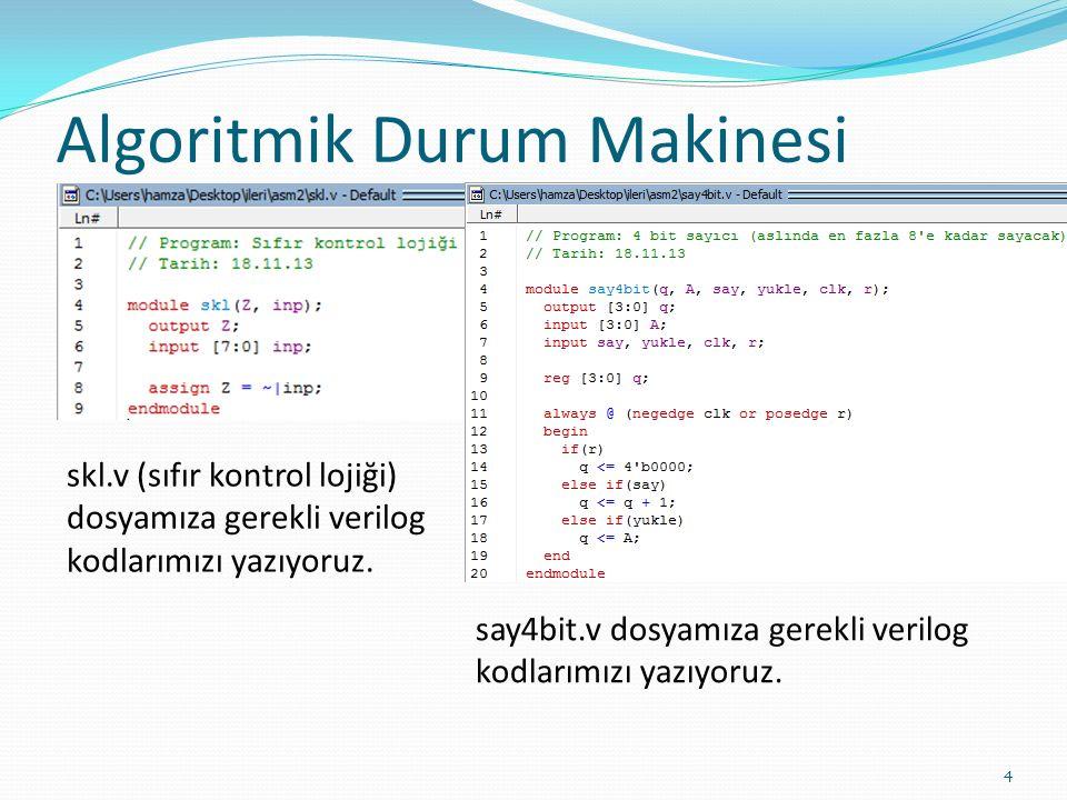 Algoritmik Durum Makinesi 4 skl.v (sıfır kontrol lojiği) dosyamıza gerekli verilog kodlarımızı yazıyoruz. say4bit.v dosyamıza gerekli verilog kodlarım