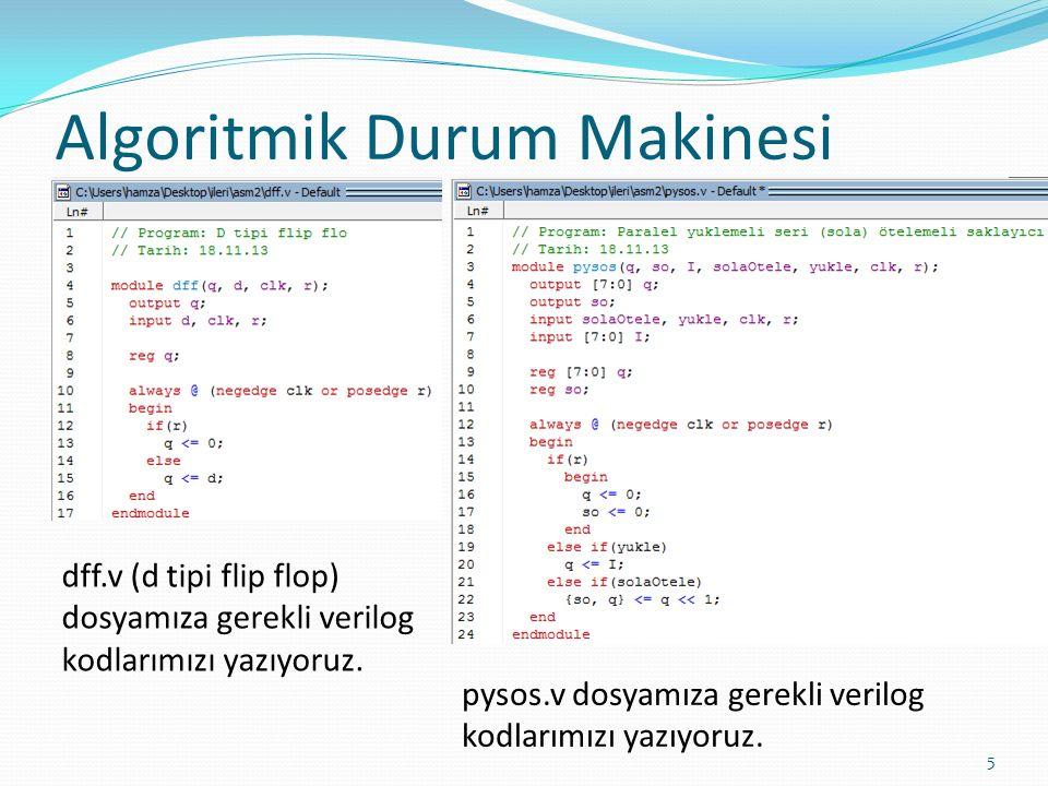Algoritmik Durum Makinesi 5 dff.v (d tipi flip flop) dosyamıza gerekli verilog kodlarımızı yazıyoruz. pysos.v dosyamıza gerekli verilog kodlarımızı ya