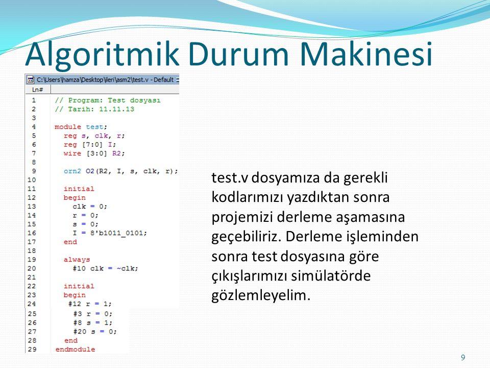 Algoritmik Durum Makinesi 9 test.v dosyamıza da gerekli kodlarımızı yazdıktan sonra projemizi derleme aşamasına geçebiliriz. Derleme işleminden sonra
