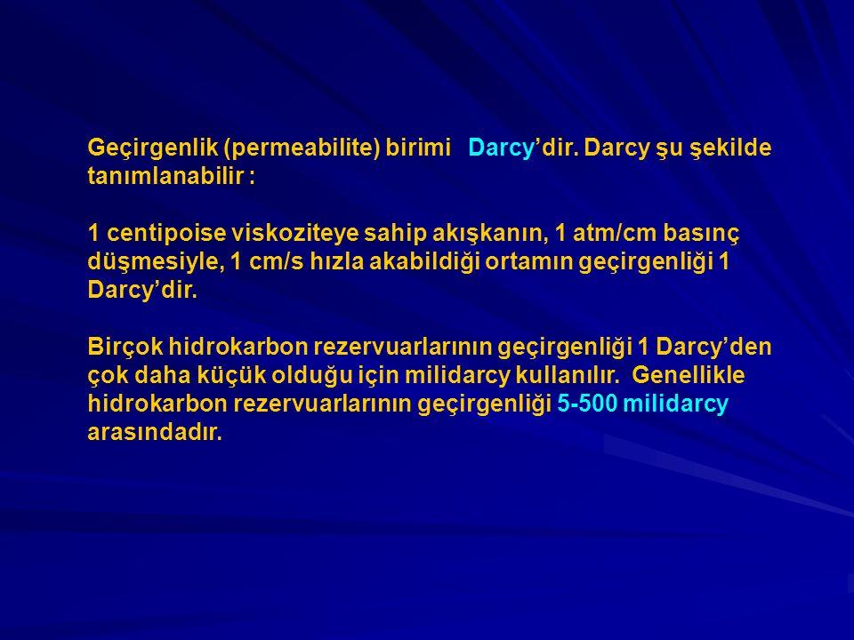 Geçirgenlik (permeabilite) birimi Darcy'dir. Darcy şu şekilde tanımlanabilir : 1 centipoise viskoziteye sahip akışkanın, 1 atm/cm basınç düşmesiyle, 1