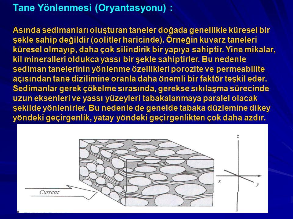 Tane Yönlenmesi (Oryantasyonu) : Asında sedimanları oluşturan taneler doğada genellikle küresel bir şekle sahip değildir (oolitler haricinde). Örneğin