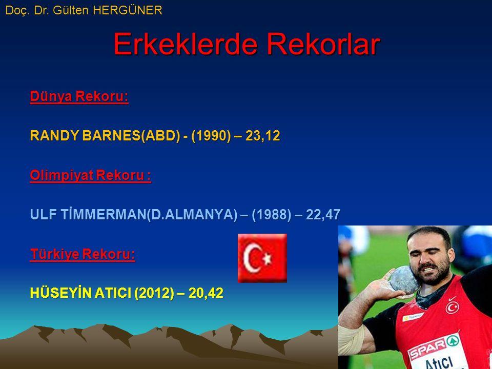 Erkeklerde Rekorlar Dünya Rekoru: RANDY BARNES(ABD) - (1990) – 23,12 Olimpiyat Rekoru : ULF TİMMERMAN(D.ALMANYA) – (1988) – 22,47 Türkiye Rekoru: HÜSEYİN ATICI (2012) – 20,42 Doç.