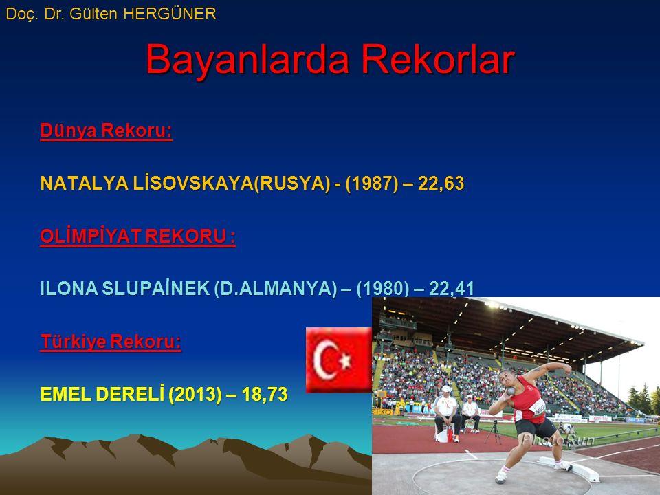 Bayanlarda Rekorlar Dünya Rekoru: NATALYA LİSOVSKAYA(RUSYA) - (1987) – 22,63 OLİMPİYAT REKORU : ILONA SLUPAİNEK (D.ALMANYA) – (1980) – 22,41 Türkiye Rekoru: EMEL DERELİ (2013) – 18,73 Doç.