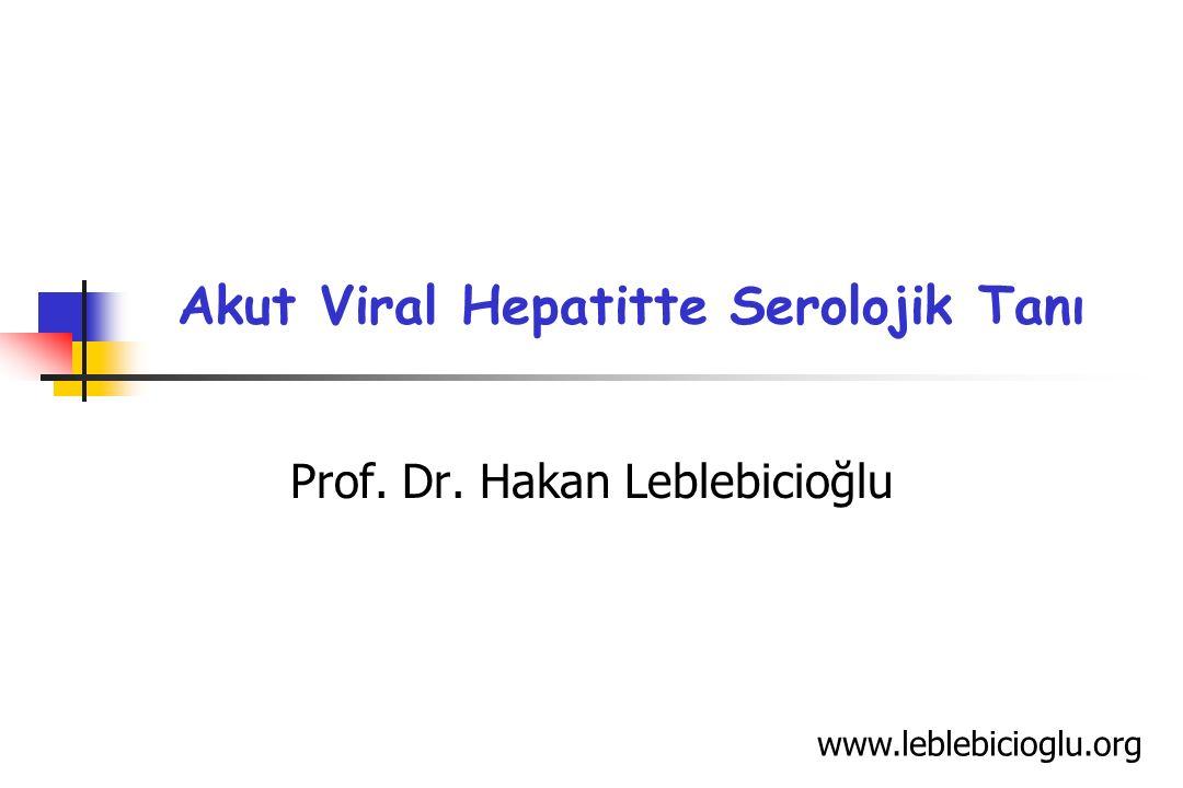 Akut Viral Hepatitte Serolojik Tanı www.leblebicioglu.org Prof. Dr. Hakan Leblebicioğlu