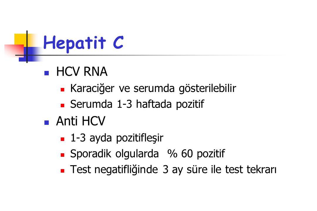 Hepatit C HCV RNA Karaciğer ve serumda gösterilebilir Serumda 1-3 haftada pozitif Anti HCV 1-3 ayda pozitifleşir Sporadik olgularda % 60 pozitif Test