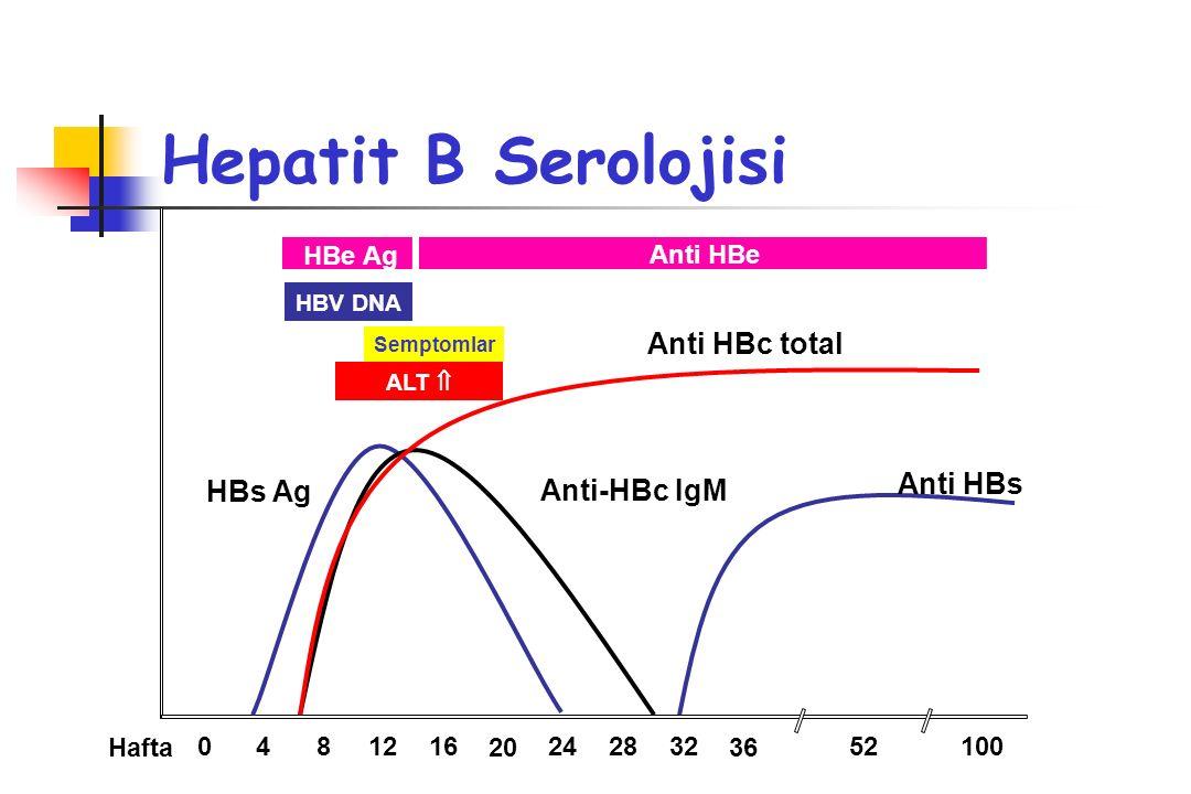 Hepatit B Kronikleşme Kronikleşmeye gidiş HBe Ag'nin 8 haftadan uzun süre pozitifliği HBs Ag 12 haftadan uzun süreli pozitifliği İnaktif Kronik taşıyıcılık 6 aydan uzun süreli HBs Ag pozitifliği ALT, AST normal Kronik hepatit 6 aydan uzun süreli HBs Ag pozitifliği ALT, AST yüksek Karaciğer nekroinflamatuvar, fibrotik değişiklik