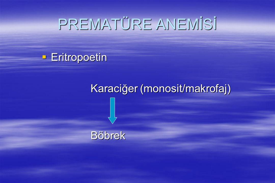 PREMATÜRE ANEMİSİ  Eritropoetin Karaciğer (monosit/makrofaj) Böbrek
