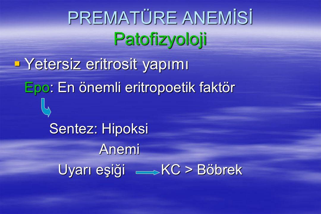 PREMATÜRE ANEMİSİ Patofizyoloji  Yetersiz eritrosit yapımı Epo: En önemli eritropoetik faktör Sentez: Hipoksi Sentez: HipoksiAnemi Uyarı eşiği KC > B