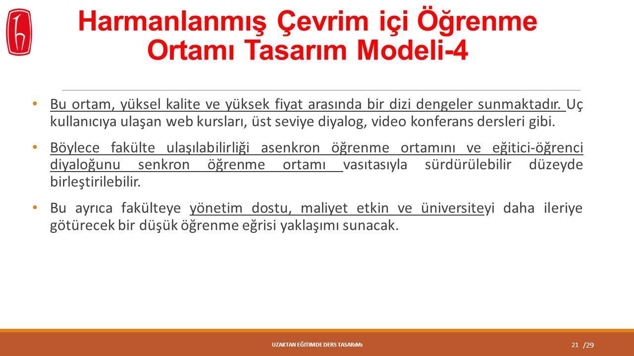 /29 Harmanlanmış Çevrim içi Öğrenme Ortamı Tasarım Modeli-4 Bu ortam, yüksel kalite ve yüksek fiyat arasında bir dizi dengeler sunmaktadır.