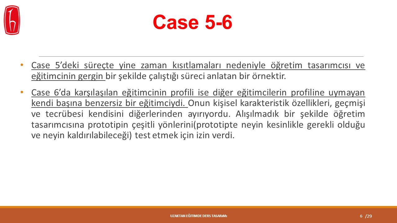 /29 Case 5-6 Case 5'deki süreçte yine zaman kısıtlamaları nedeniyle öğretim tasarımcısı ve eğitimcinin gergin bir şekilde çalıştığı süreci anlatan bir örnektir.