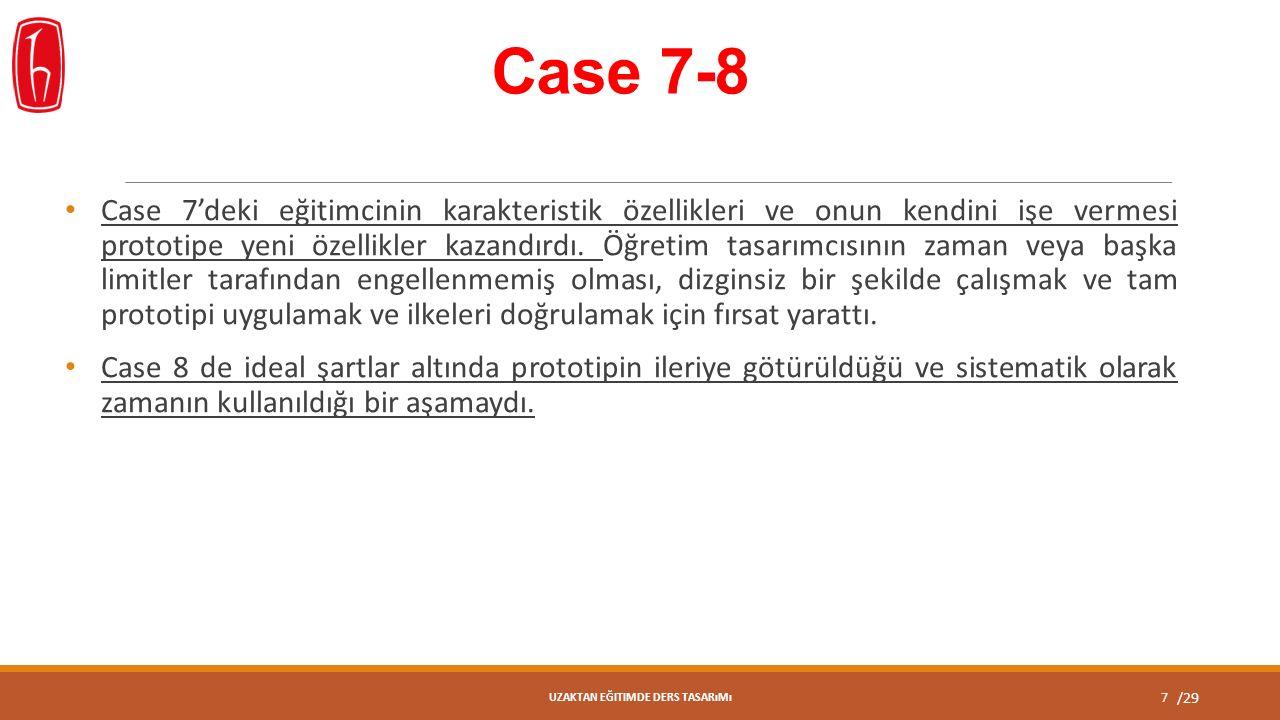 /29 Case 7-8 Case 7'deki eğitimcinin karakteristik özellikleri ve onun kendini işe vermesi prototipe yeni özellikler kazandırdı.