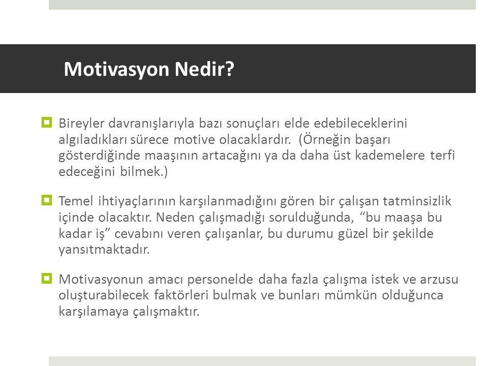 Motivasyon Nedir?  Bireyler davranışlarıyla bazı sonuçları elde edebileceklerini algıladıkları sürece motive olacaklardır. (Örneğin başarı gösterdiği