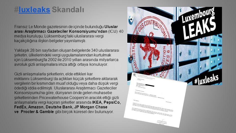 #luxleaks Skandalıluxleaks Fransız Le Monde gazetesinin de içinde bulunduğu Uluslar arası Araştırmacı Gazeteciler Konsorsiyumu ndan (ICIJ) 40 medya kuruluşu, Lüksemburg'taki uluslararası vergi kaçakçılığına ilişkin belgeler yayınlamıştı.
