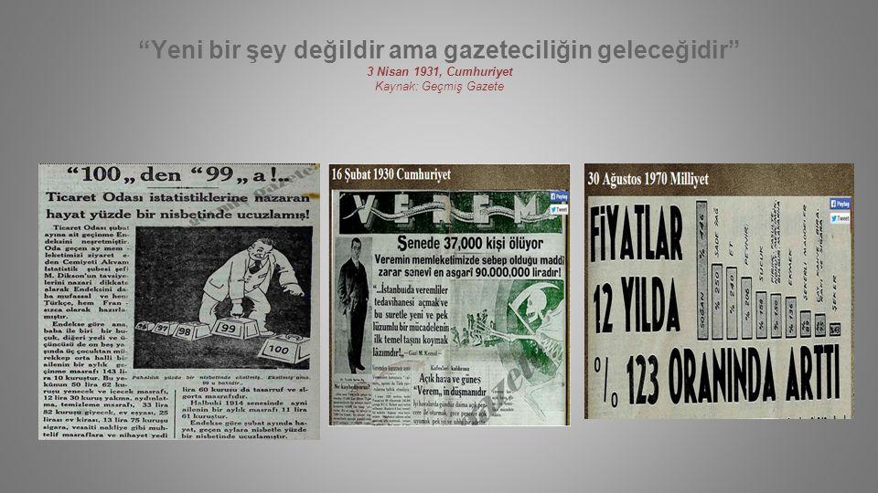 Yeni bir şey değildir ama gazeteciliğin geleceğidir 3 Nisan 1931, Cumhuriyet Kaynak: Geçmiş Gazete