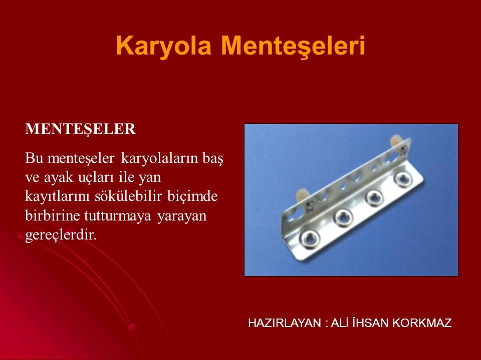 HAZIRLAYAN : ALİ İHSAN KORKMAZ Son yıllarda mobilyalara takılmak üzere yeni birçok menteşe tipi yapılmakta ve piyasaya sürülmektedir.