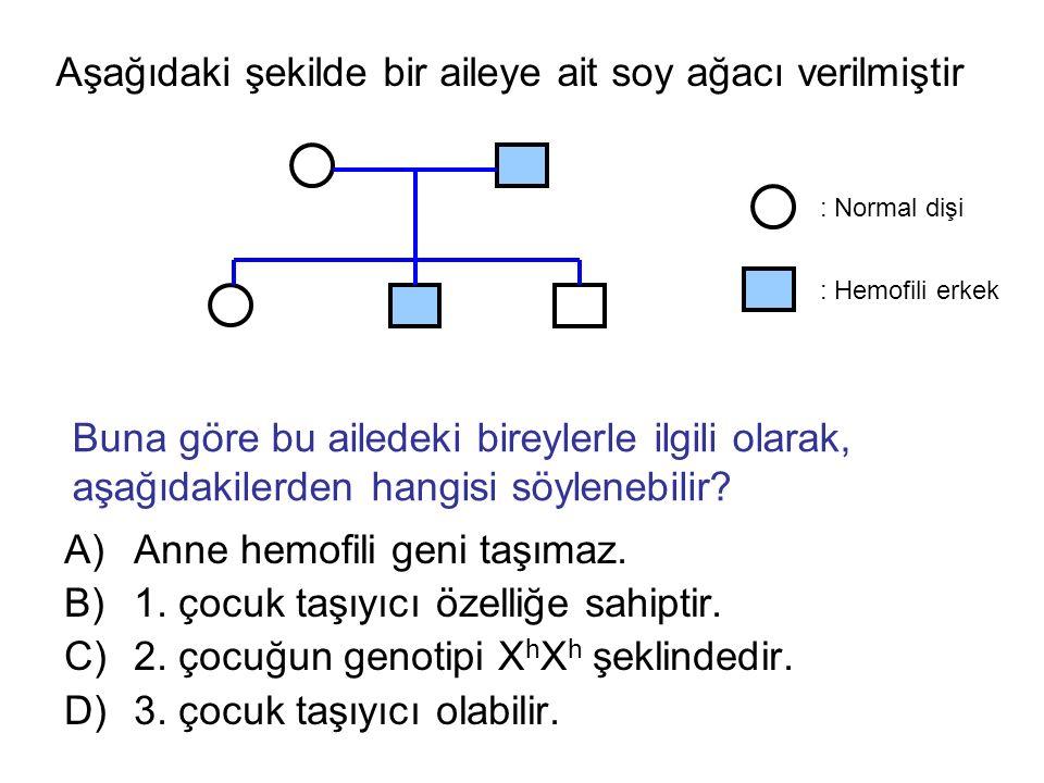 Aşağıdaki şekilde bir aileye ait soy ağacı verilmiştir A)Anne hemofili geni taşımaz.