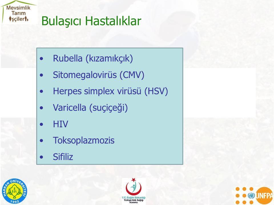 Rubella (kızamıkçık) Sitomegalovirüs (CMV) Herpes simplex virüsü (HSV) Varicella (suçiçeği) HIV Toksoplazmozis Sifiliz Bulaşıcı Hastalıklar