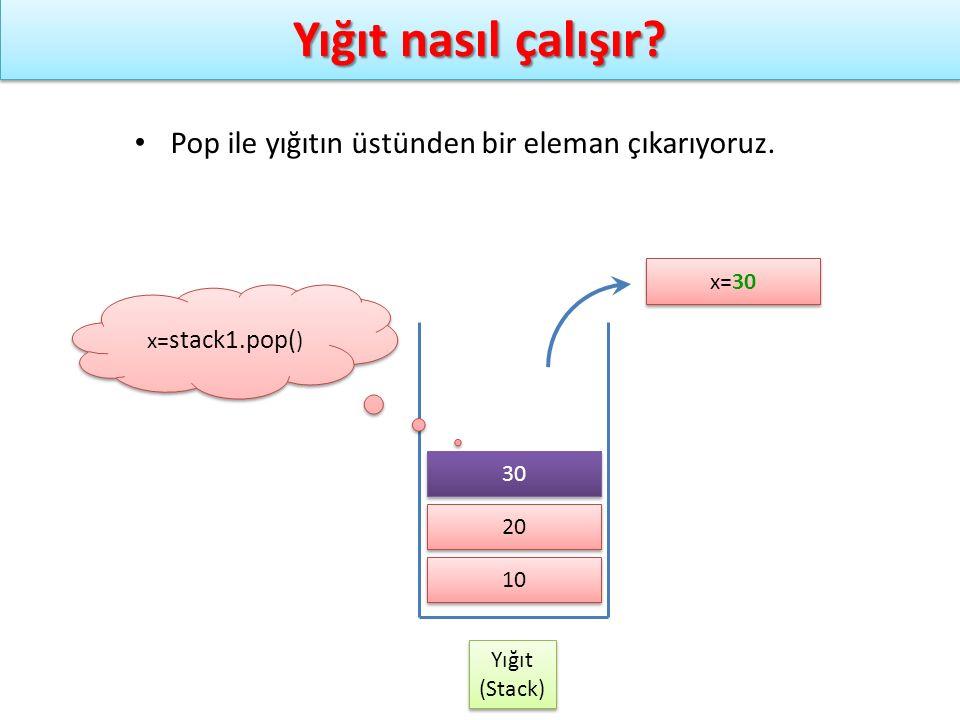 Yığıt nasıl çalışır? Yığıt (Stack) Yığıt (Stack) x= stack1.pop( ) Pop ile yığıtın üstünden bir eleman çıkarıyoruz. 10 20 x=30 30