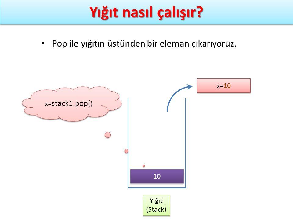 Yığıt nasıl çalışır? Yığıt (Stack) Yığıt (Stack) x= stack1.pop( ) Pop ile yığıtın üstünden bir eleman çıkarıyoruz. x=10 10