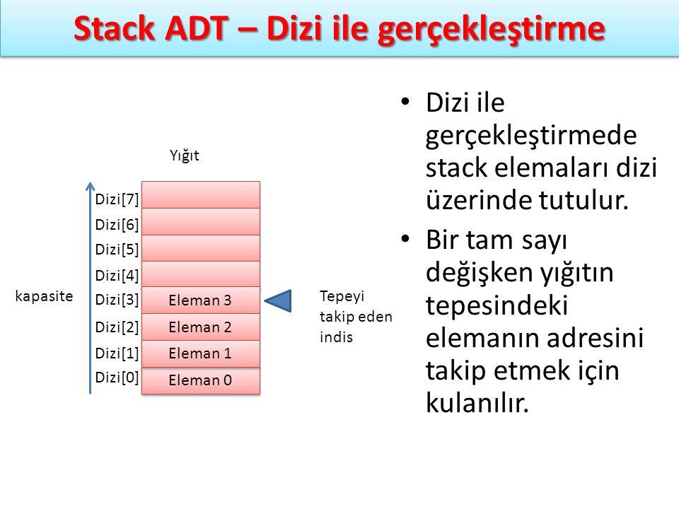 Stack ADT – Dizi ile gerçekleştirme Dizi ile gerçekleştirmede stack elemaları dizi üzerinde tutulur. Bir tam sayı değişken yığıtın tepesindeki elemanı