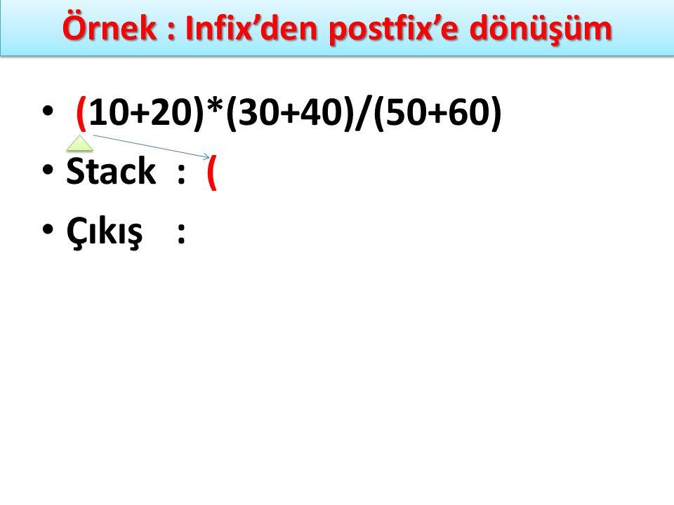 Örnek : Infix'den postfix'e dönüşüm (10+20)*(30+40)/(50+60) Stack: ( Çıkış: