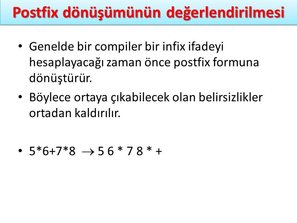 Postfix dönüşümünün değerlendirilmesi Genelde bir compiler bir infix ifadeyi hesaplayacağı zaman önce postfix formuna dönüştürür. Böylece ortaya çıkab