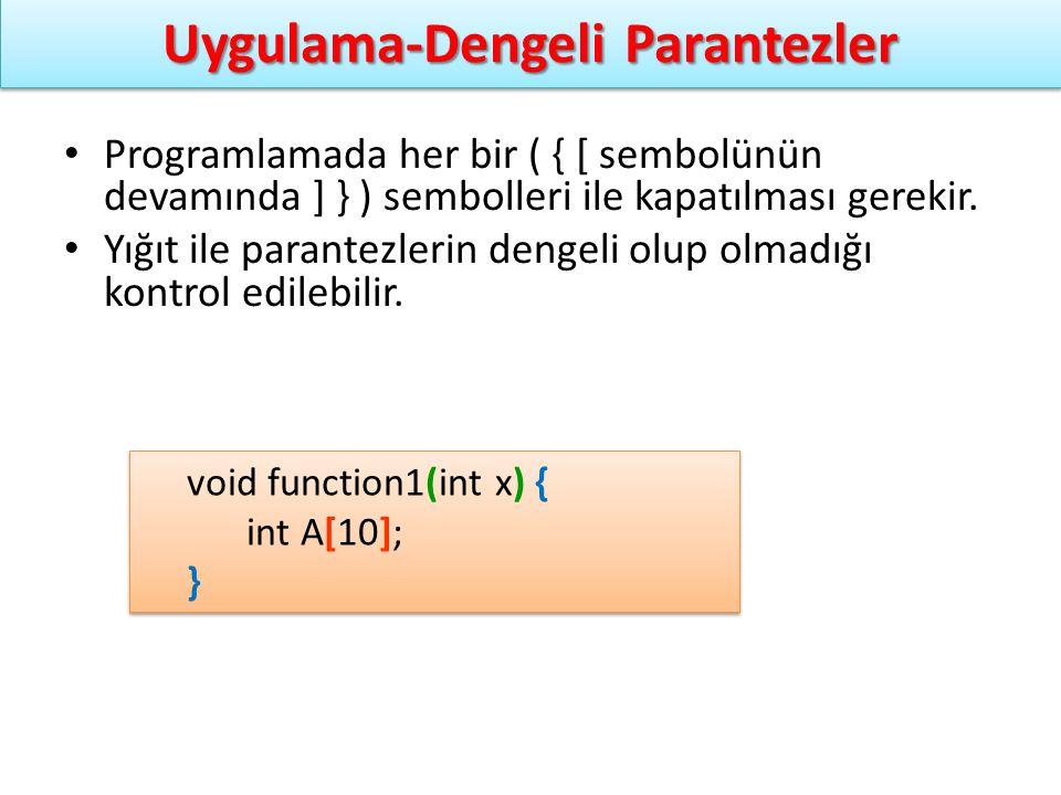 Programlamada her bir ( { [ sembolünün devamında ] } ) sembolleri ile kapatılması gerekir. Yığıt ile parantezlerin dengeli olup olmadığı kontrol edile