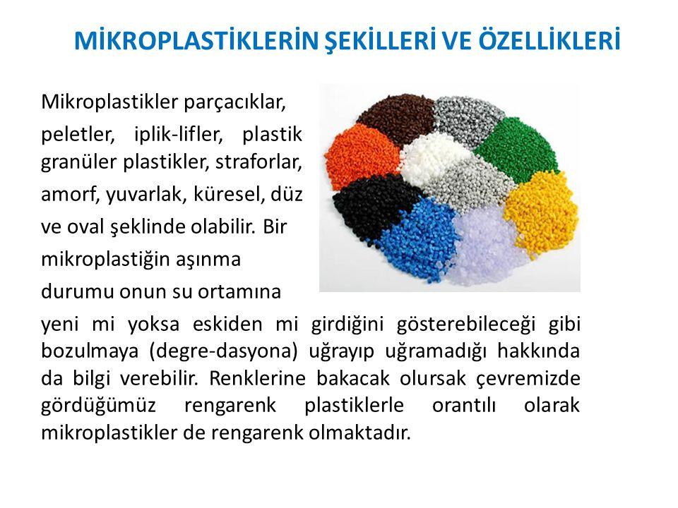 Mikroplastikler parçacıklar, peletler, iplik-lifler, plastik filmler, köpüklü plastikler, granüler plastikler, straforlar, amorf, yuvarlak, küresel, d