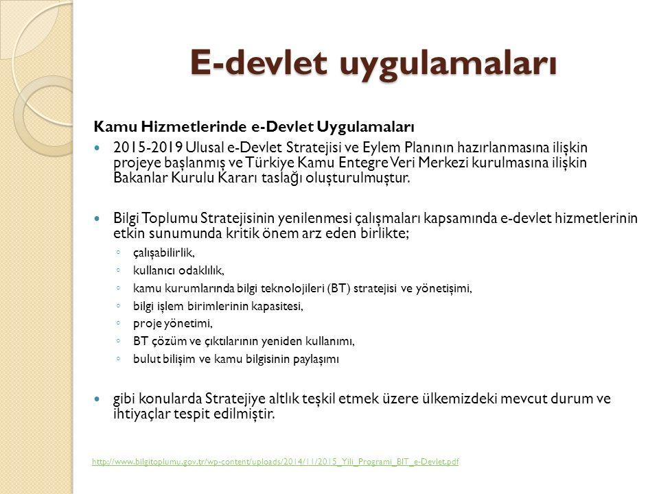 E-devlet uygulamaları Kamu Hizmetlerinde e-Devlet Uygulamaları 2015-2019 Ulusal e-Devlet Stratejisi ve Eylem Planının hazırlanmasına ilişkin projeye başlanmış ve Türkiye Kamu Entegre Veri Merkezi kurulmasına ilişkin Bakanlar Kurulu Kararı tasla ğ ı oluşturulmuştur.