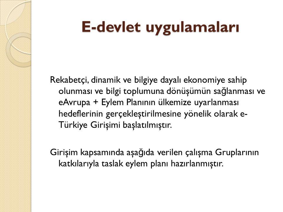 E-devlet uygulamaları Rekabetçi, dinamik ve bilgiye dayalı ekonomiye sahip olunması ve bilgi toplumuna dönüşümün sa ğ lanması ve eAvrupa + Eylem Planının ülkemize uyarlanması hedeflerinin gerçekleştirilmesine yönelik olarak e- Türkiye Girişimi başlatılmıştır.