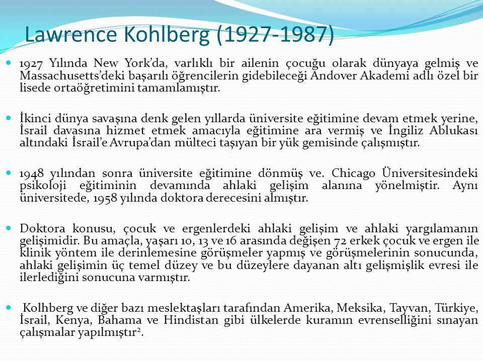 Lawrence Kohlberg (1927-1987) 1927 Yılında New York'da, varlıklı bir ailenin çocuğu olarak dünyaya gelmiş ve Massachusetts'deki başarılı öğrencilerin