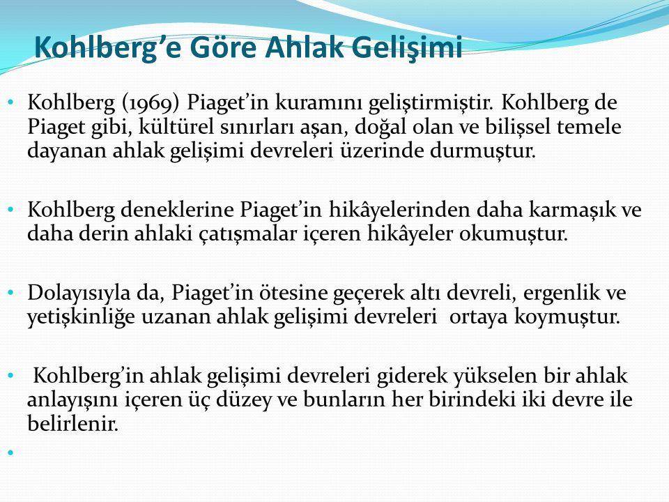 Kohlberg'e Göre Ahlak Gelişimi Kohlberg (1969) Piaget'in kuramını geliştirmiştir. Kohlberg de Piaget gibi, kültürel sınırları aşan, doğal olan ve bili