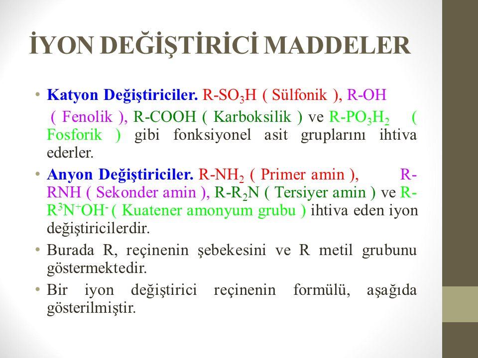 İYON DEĞİŞTİRİCİ MADDELER Katyon Değiştiriciler.